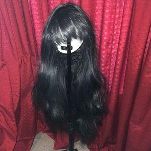 Long Brown Black Wig with Bangs
